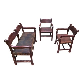 21st Century Hacienda Bench and Chairs- 3 Pieces For Sale