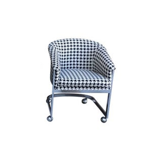 Hollywood Regency Herringbone Print Roller Chair For Sale