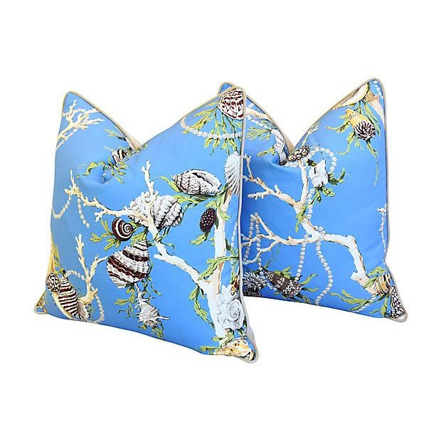 """Early 21st Century Designer Nautical Blue Coral & Shells Feather/Down Pillows 26"""" Square - Pair For Sale - Image 5 of 12"""