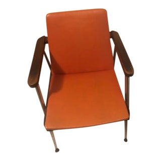 1960s Mid-Century Accent Chair With Walnut and Chrome Frame For Sale