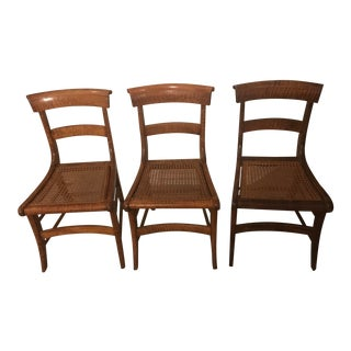 Mid 19th Century Tiger Maple Chairs - Set of 3 For Sale