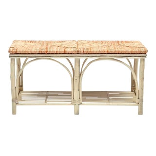 White Frame Woven Rush Seat Bench For Sale