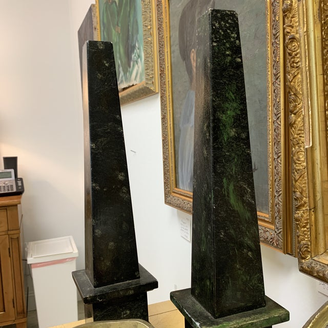 Malachite Marble Obelisks - a Pair For Sale - Image 12 of 13