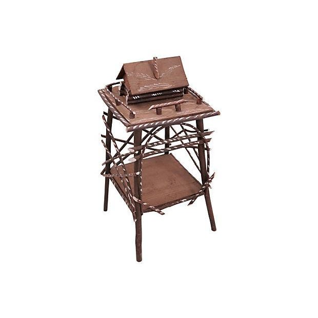 Twig Side Table w/Cabin For Sale - Image 6 of 6