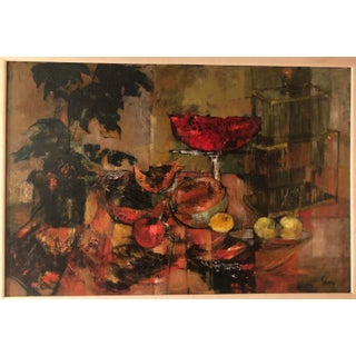 Original Mid Century Modern Jenny Tomao Abstract Still Life Painting Preview