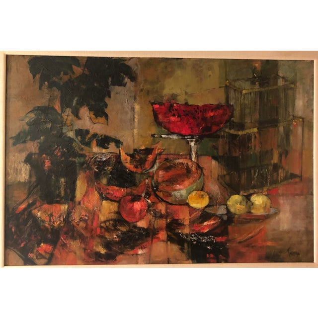 Original Mid Century Modern Jenny Tomao Abstract Still Life Painting - Jenny Tomao was married to the famous political...