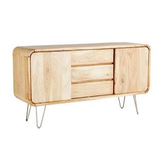 Mid-Century Modern Natural Solid Acacia Wood Sideboard
