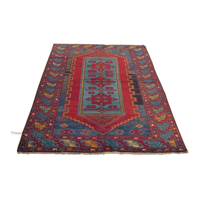 Antique Turkish Kazak Rug - 5′7″ × 8′1″ For Sale