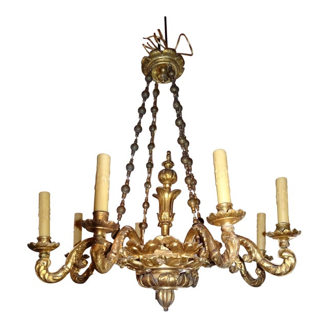 18th Century Venetian Gilt Wood Chandelier For Sale