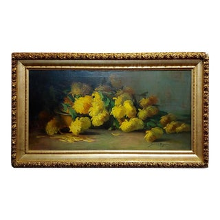 Sarah E Bender De Wolfe -Still Life With Yellow Flowers-19th Century Oil Painting For Sale