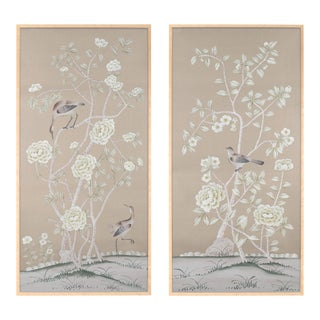 """Donnington"" Chinoiserie Diptych Paintings on Silk - a Pair For Sale"