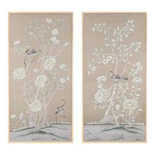 """Donnington"" Chinoiserie Diptych Paintings on Silk - a Pair"