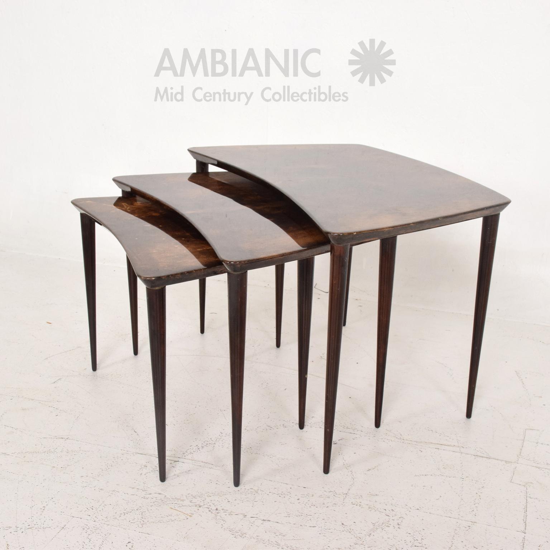 Aldo Tura Goatskin Nesting Tables Italian, Mid Century Modern   Image 3 Of  10