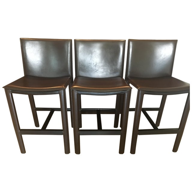 RH Brown Leather Counter Stools - Set of 3 - Image 1 of 6