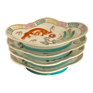 Vintage Chinoiserie Handpainted Oval Dragon and Phoenix Bird Footed Plates - Set of 4 For Sale