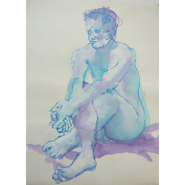 """Blue Boy"" Pastel and Watercolor - Image 1 of 3"