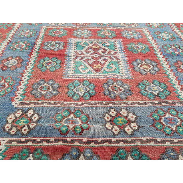 Boho Chic Vintage Blue and Red Turkish Kilim Rug 5'7'' X 7'3'' For Sale - Image 3 of 13