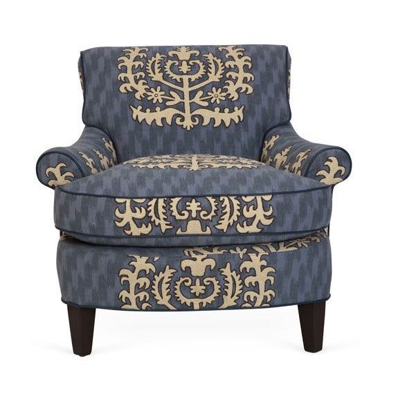Travers Blue Leather Club Chair - Image 2 of 2
