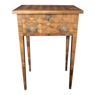 French Walnut Parquetry Side Table or Nightstand For Sale