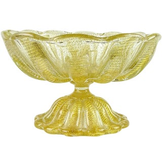 Ercole Barovier Toso Murano Gold Flecks Italian Art Glass Footed Compote Bowl For Sale