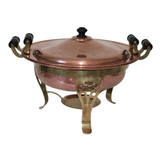Vintage Large Copper Chafing Dish and Stand 4 Piece Set For Sale