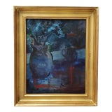 """Image of Vintage """"Blue and Orange and Green Study"""" Still Life Oil Painting by Thorpe For Sale"""