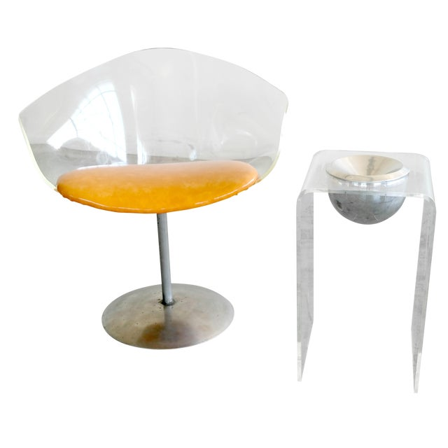 1950's Lucite Chair and Cigarette Placement Piece For Sale