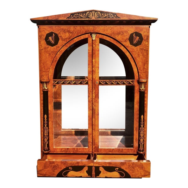 Versace Style Giemme Italian Neoclassical Inlaid Breakfront China Display Cabinet For Sale