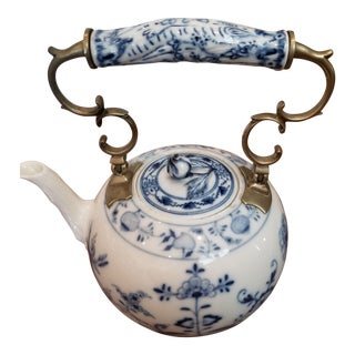 Meissen Tea Pot With Metal Mounts For Sale
