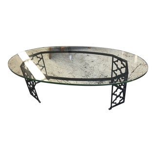1970s Moroccan Wrought Iron Coffee Table With Thick Oval Glass Top For Sale