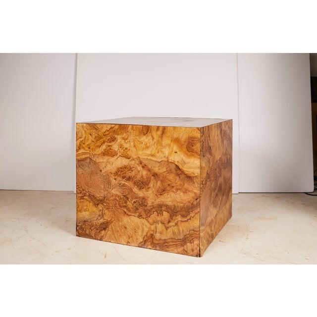 1970s Midcentury Burled Wood Laminate Cube For Sale - Image 5 of 13