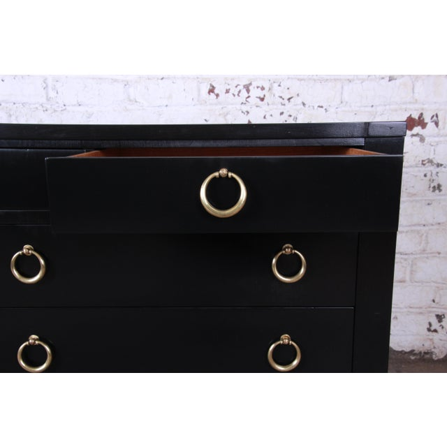 Brass Baker Furniture Hollywood Regency Ebonized Long Dresser For Sale - Image 7 of 13