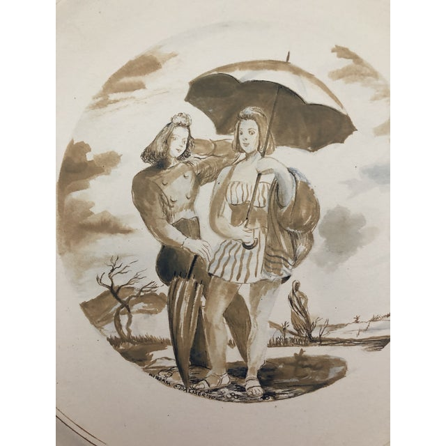 Two Ladies Posing the Beach, Watercolor by William Palmer, 1940 For Sale - Image 4 of 8
