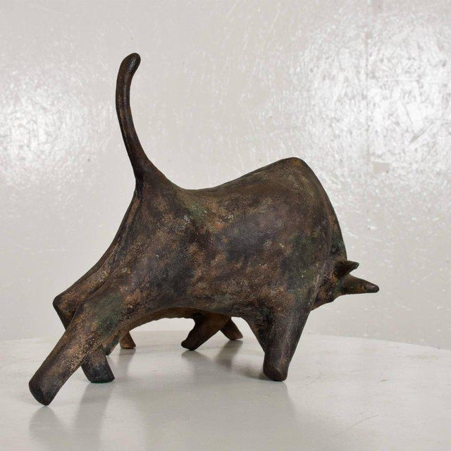 Iron Pair of Mid-Century Modern Bull Table Sculptures, Iron, Japan For Sale - Image 7 of 8