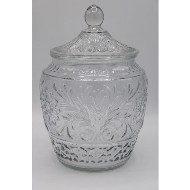 Glass 1950s Sandwich Glass Jar With Lid For Sale - Image 7 of 7