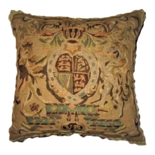 French Crest Embroidered Needlepoint Tapestry Throw Pillow
