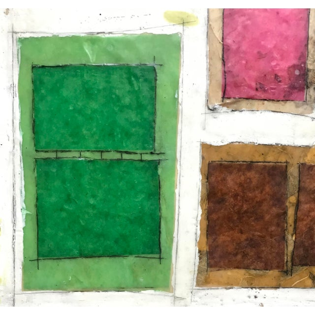 "Gina Cochran ""Necessity of Play No. 6"" Encaustic Collage Painting For Sale - Image 4 of 9"