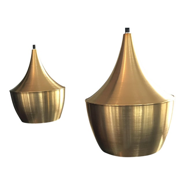 T. Dixon Brass Gold Beat Pendant Lights - A Pair - Image 1 of 5