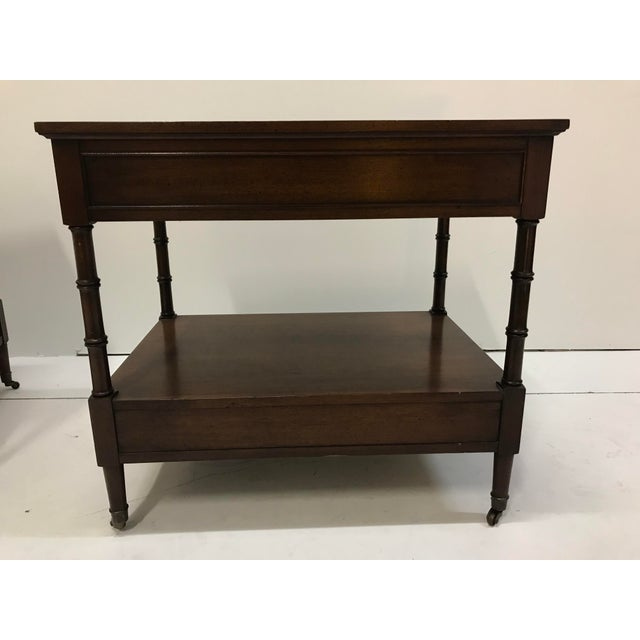 Hekman Walnut Side Tables - Pair For Sale - Image 10 of 13
