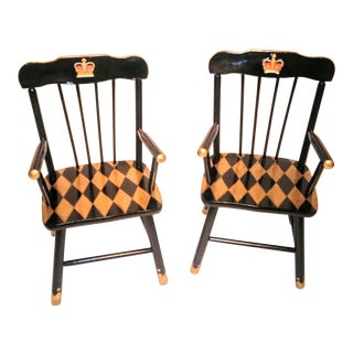 "1950s Children's ""Royal"" Painted Wood Chairs - a Pair"