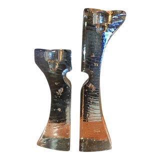 Pair of Sculptural Glass Candle Holders, Kosta Boda Crystal Candle Holder For Sale