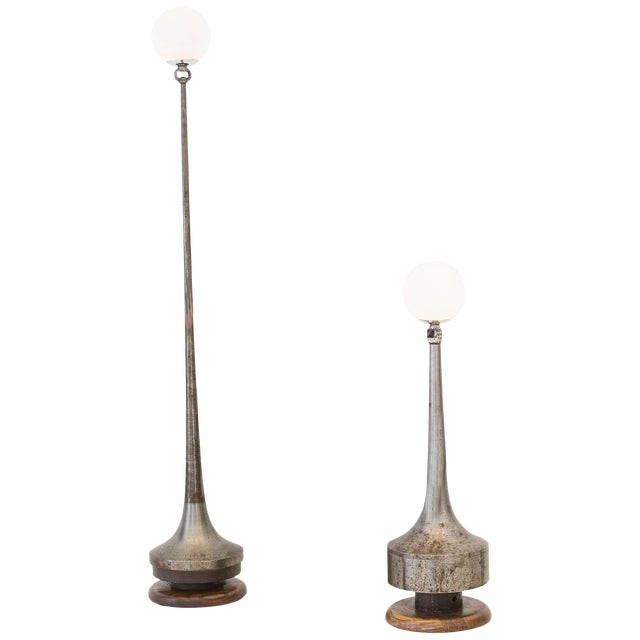 Ted Harris One-of-a-Kind Metal Contemporary Table Lamps For Sale