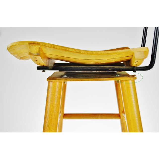 Mid Century Arthur Umanoff Style Slatted Wood Swivel Stool For Sale - Image 10 of 13