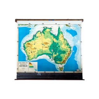Vintage Cram's Pull Down Map of Australia For Sale