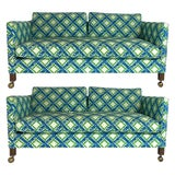 Image of Pair of Dunbar Style Tuxedo or Parson Settees in Lattice Bamboo Upholstery For Sale