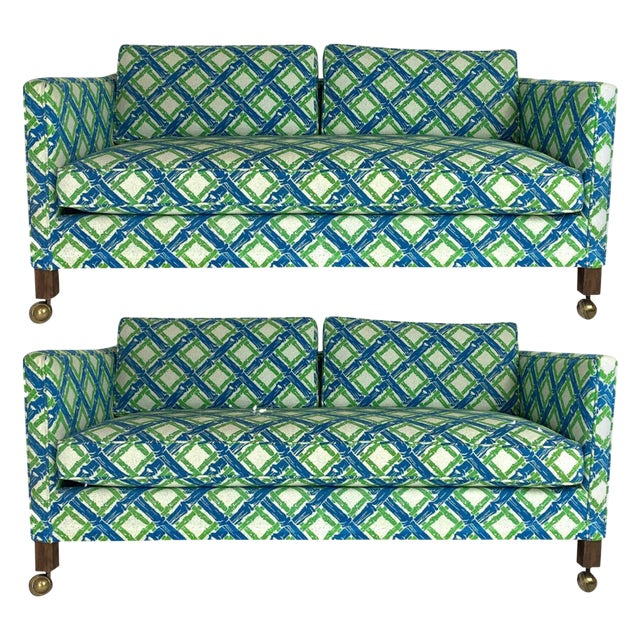 Pair of Dunbar Style Tuxedo or Parson Settees in Lattice Bamboo Upholstery For Sale