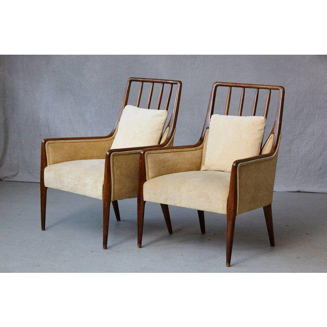 Pair of Mid-Century High Back Walnut Lounge Chairs For Sale - Image 10 of 10