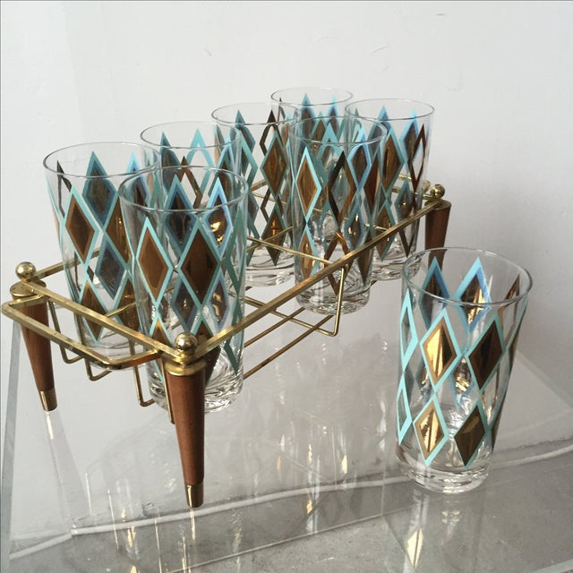 Mid-Century Brass and Teak Caddy With 8 Glasses - Image 4 of 5