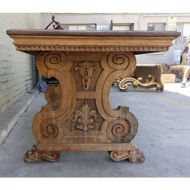 Carved Italian Trestle Writing Table, Circa 1900 For Sale - Image 9 of 10