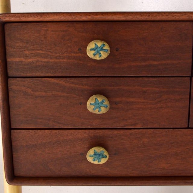 Monumental Mexican Modernist Wall Unit in Solid Mahogany and Goatskin For Sale - Image 10 of 12